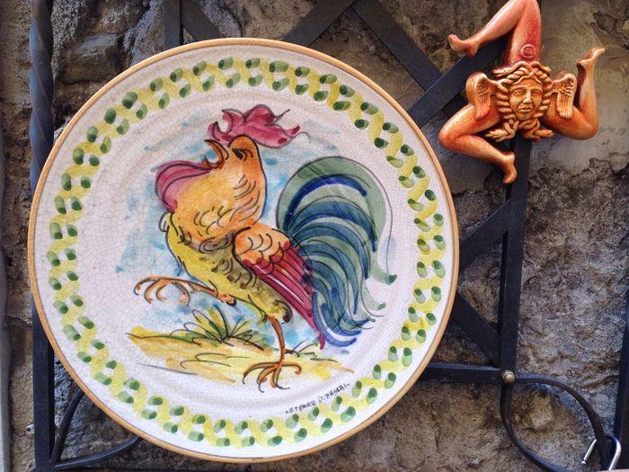 Craftwork, Trinacria, Sicily, Italy Craftwork Plate Trinacria Sicily Sicilia Italy Italia Rooster Gallo