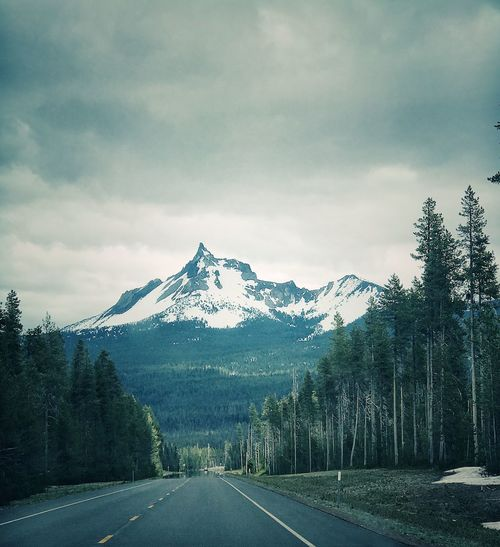 Mountain Road Tranquil Scene Nature Scenics Tranquility Beauty In Nature The Way Forward Landscape Snow Mountain Range Sky Tree Day No People Outdoors Cold Temperature Cloud - Sky Transportation Snowcapped Mountain The Great Outdoors - 2017 EyeEm Awards