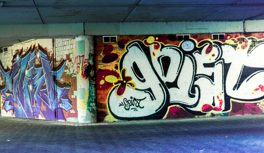 Nikon D750 Architecture Art And Craft Built Structure Close-up Communication Creativity Day Graffiti Indoors  Messy Multi Colored Mural Paint Rudeness Spray Paint Street Art Text Wall Wall - Building Feature Western Script The Street Photographer - 2018 EyeEm Awards Painted Information Sign Information The Still Life Photographer - 2018 EyeEm Awards The Creative - 2018 EyeEm Awards