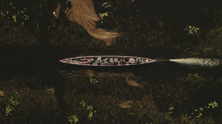 Aerial view of boat in lake at forest