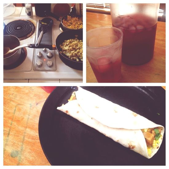 Breakfast burritos and passion iced tea.