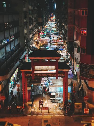High angle view of illuminated street at night