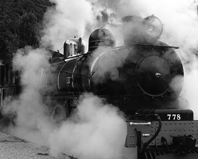 Artistic Black And White Photography Close Up Dynamic Engine Smoke Train