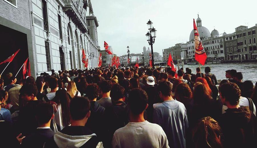 Venice station Venice Venice, Italy Station Students Manifestation Protest Revolution Joung Fight Redflag