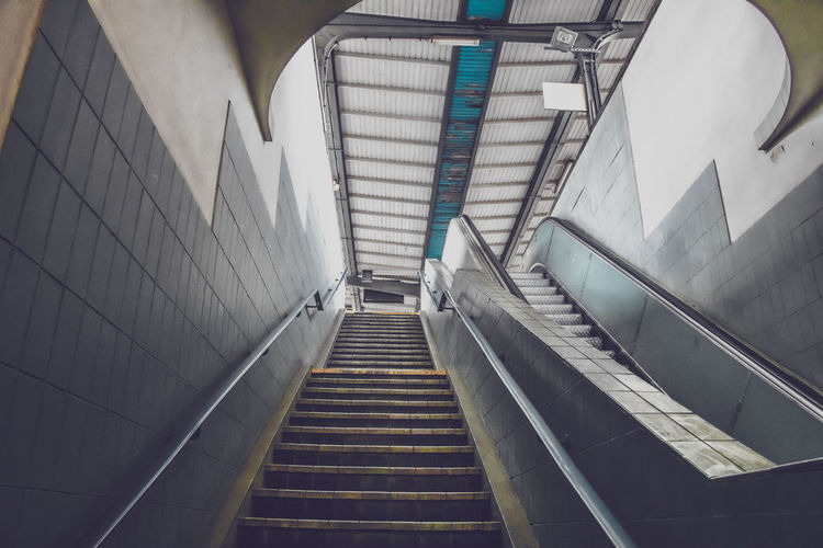 Low angle view of staircase in a trainstation