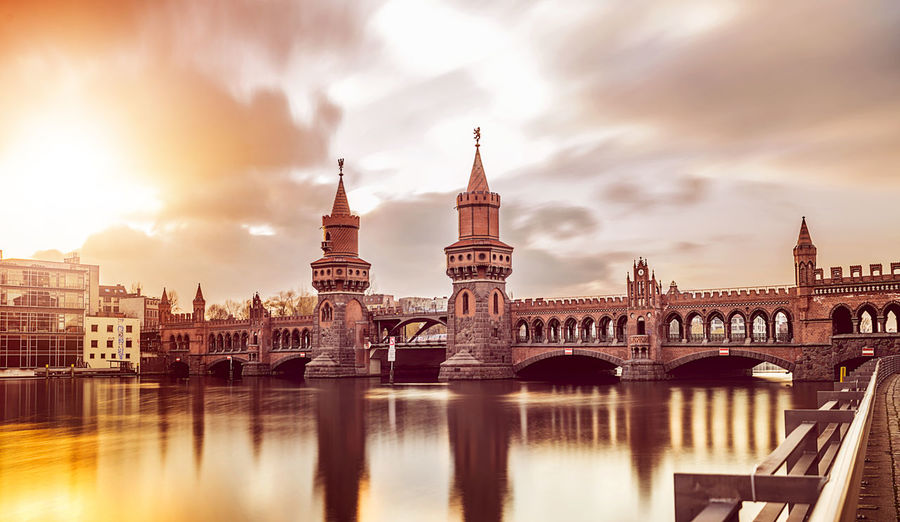 long exposure of the Oberbaumbrücke in Berlin Berlin Kreuzberg Oberbaumbrücke Arch Bridge Architecture Bridge Bridge - Man Made Structure Building Building Exterior City Cityscape Connection No People River Sky Tourism Tower Transportation Travel Travel Destinations Water