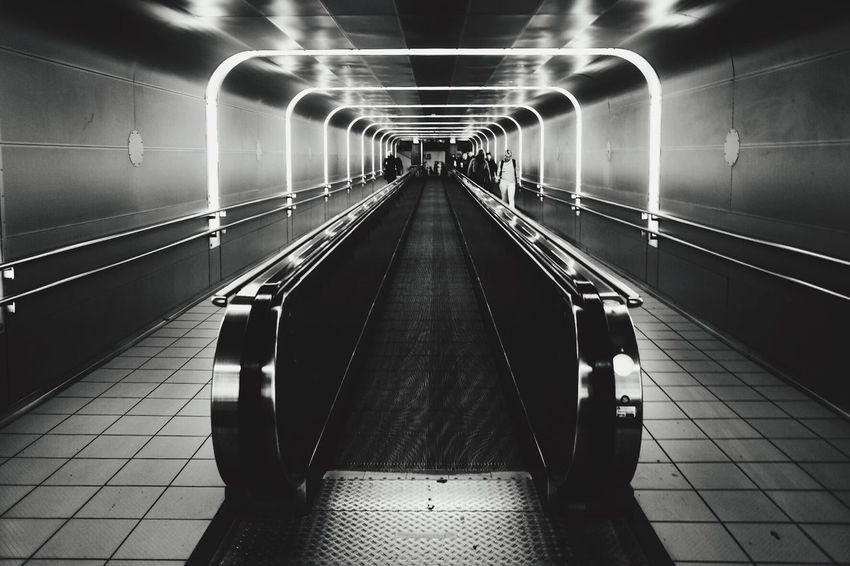 Rolling sidewalk in Oslo. Transportation Subway Station Illuminated Architecture Blackandwhite Oslo Norway NsbTravel FujifilmX70