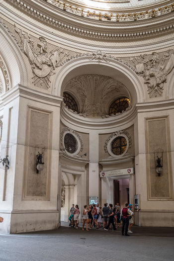 Spanish Riding School in Hofburg Palace in Vienna Architecture Historical Building Hofburg Tourist Tourist Attraction  Travel Architecture Built Structure Day Historical History Landmark Large Group Of People Men Monument Outdoors Palace People Real People Riding School School Travel Destinations Women
