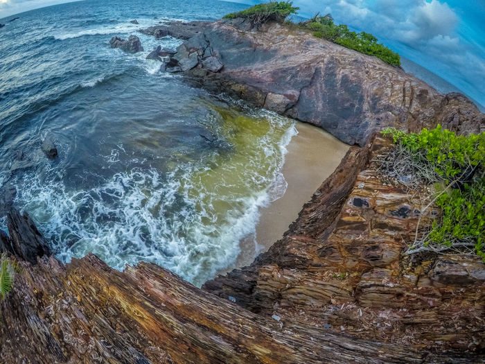 Trinidad And Tobago Beach Beauty In Nature Day High Angle View Motion Nature No People Outdoors Power In Nature Rock - Object Scenics Sea Toco Water Wave