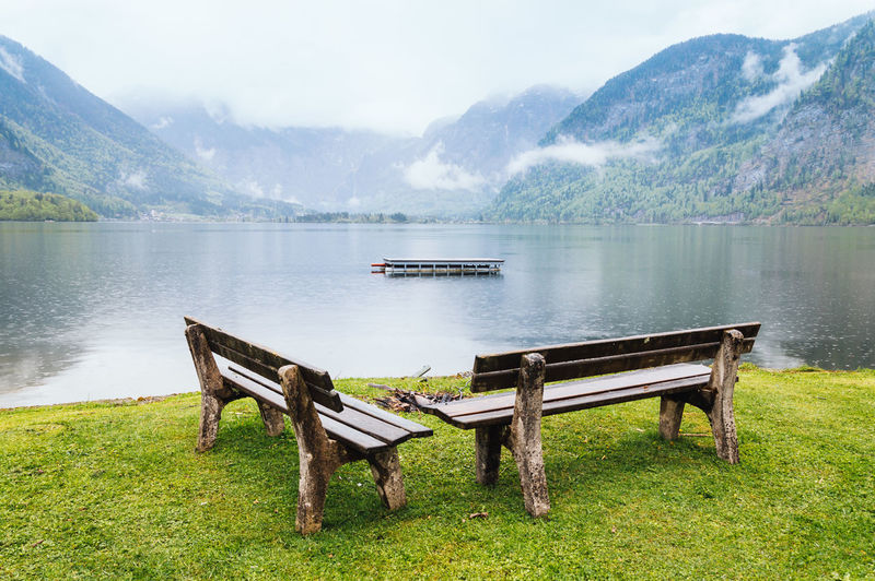 Empty benches by lake against mountains