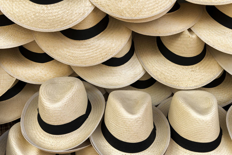 Panama Hats Hat Straw Hat Straw Hats Full Frame Background Backgrounds Large Group Of Objects Abundance Close-up Collection Sun Hat Still Life Panama Hat Panama Hats Summer Summertime Stack Accessories Accessory For Sale Beautiful Style Style And Fashion Fashion