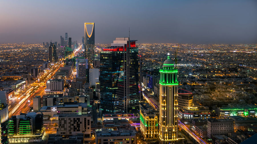 Top view of riyadh, the capital of saudi arabia, at sunset