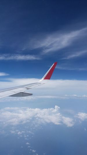 EyeEm Selects Sky Airplane Red Day Flying Outdoors No People Nature Aerobatics Clouds And Sky Cloudy Plane Lookingoutthewindow Lookingout Travelling Morning Light Morning Lights