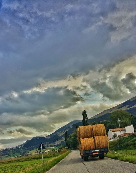 Traveling Home For The Holidays Land Vehicle Transportation Cloud - Sky Mode Of Transport Car Sky No People Tractor Sunset Nature Outdoors Beauty In Nature Day Finding New Frontiers Travel Adventure Go Away Christmas Abruzzo Italy Country Road