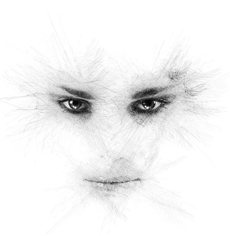 Woman's eyes and lips. Image with a digital effects Abstract Altered Art ArtWork Attractive Computer Generated Creative Digital Digital Art Digitally Generated Drawing Eyebrow Generated Graphic Graphical Human Eye Human Face Human Lips Looking At Camera Minimalistic Pencil Drawing People Portrait White Background Woman