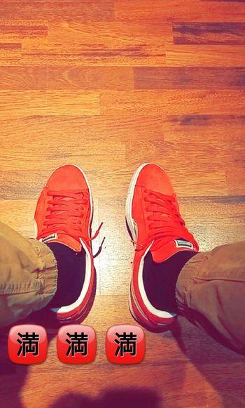 Pumas  Red Shoes Suède