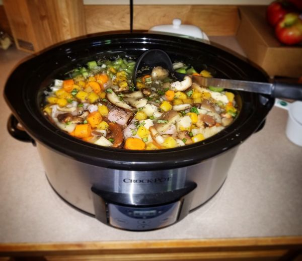 Close-up Crock Pot Crockpot Day Food Food And Drink Freshness Healthy Eating High Angle View Indoors  No People Preparation  Ready-to-eat Stove Vegetable