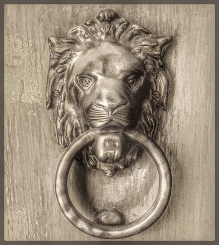 Animal Representation Close-up Antique No People Day Outdoors Door Knob Lion Ferocious Noir EyeEm Best Edits Eye4photography  EyeEm Best Shots EyeEm Gallery IPhoneography IPhone 6s