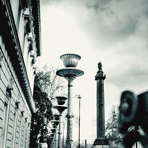 Scary at the top. Architecture Building Exterior Built Structure City Low Angle View Tower Sky No People Outdoors Day Trafalgar Square London Scary Height Tall Dark Clouds Welcome To Black Art Is Everywhere