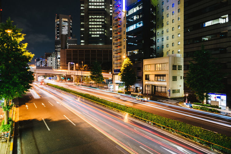 Light trails in Shinjuku, Tokyo. Architecture Blurred Motion Building Building Exterior Built Structure City City Life City Street Cityscape Illuminated Light Trail Light Trails Modern Motion Night Nightphotography No People Office Building Outdoors Road Sky Skyscraper Tall - High Traffic Traffic