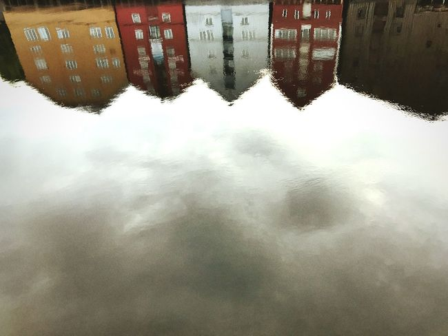 """Upsidedown in """"Trondheim,""""Norway🌫🎥 Water Reflection Day Outdoors Waterfront No People Nature Built Structure Architecture Puddle Building Exterior Sky 12MP"""
