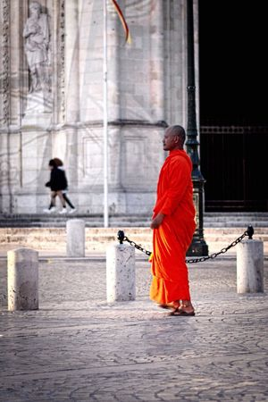 Buddhist monk visiting Orleans Eye4photography  Light And Shadow Night Eyem Gallery Urban Streetphotography Street Photography Color Portrait EyeEm Best Shots