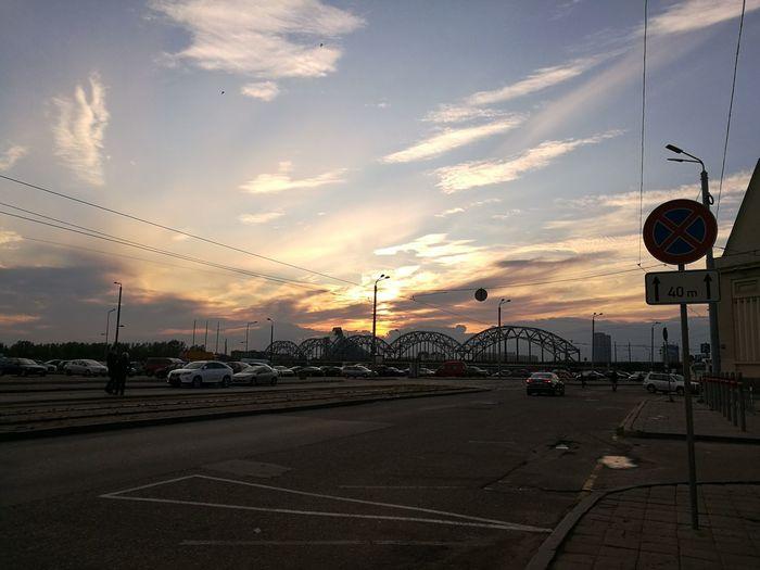 Sunset Sky Cloud - Sky Outdoors Multi Colored Nature City, Bridge Car Built Structure City