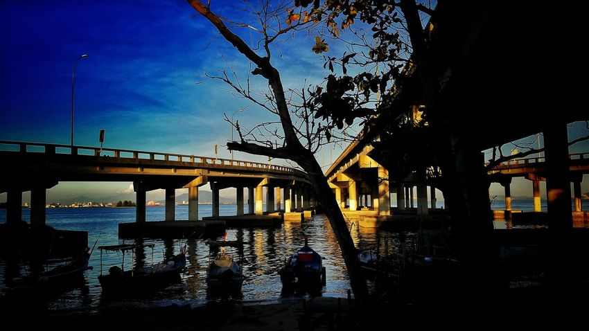 Hanging Out Taking Photos Check This Out Hello World Galaxys5photography Samsungphotography Blue Sky Exercising Photography Cycling Under A Bridge Penang Bridge Sunset Light