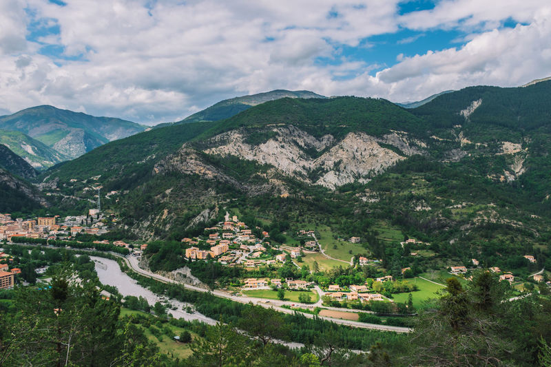 Aerial view of townscape amidst valley