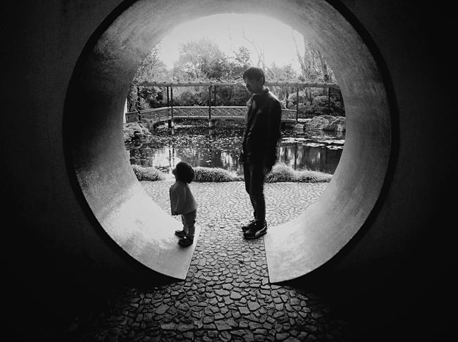 Chinese Garden Father And Daughter Black & White Blackandwhite EEA3 EEA3_CambridgeNZ The Global EyeEm Adventure Waikato Ipadphotography Hamilton Gardens HamGardComp Up Close Street Photography Monochrome Photography