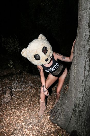 Woman Wearing Panda Costume At Forest During Night