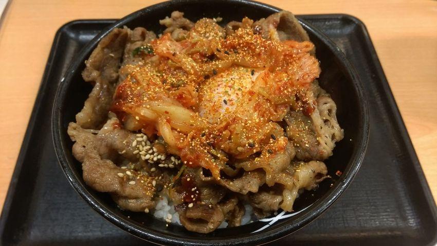 Eating Foodporn Egg Kimchi Beef Food Taking Photos Foodphotography Enjoying A Meal Yummy牛カルビ丼+キムチ+ 半熟玉子