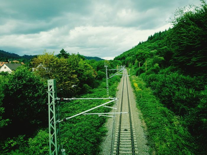 High Angle View Of Railroad Track Passing Through Trees