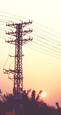 Sunset Electricity  Cable Silhouette Electricity Pylon Fuel And Power Generation Power Line