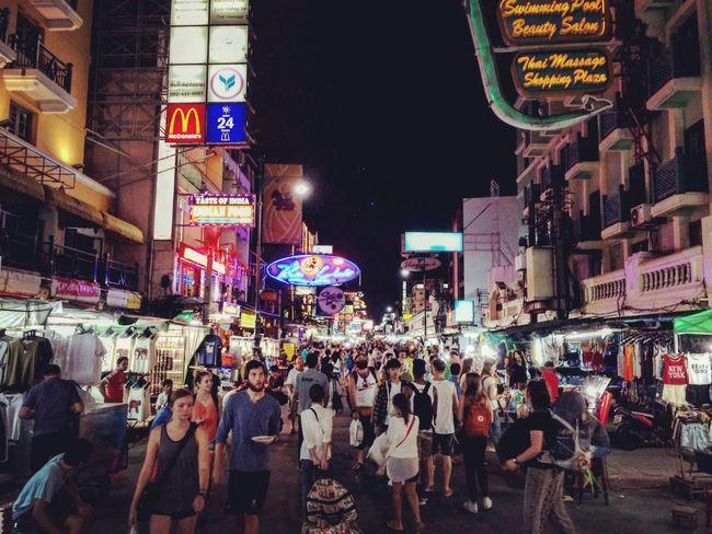 Cities At Night Bangkok Thailand Bkk Thailand Night People Khoasanroad