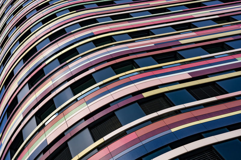 WithSwing Architectural Feature Architecture Backgrounds Blue Building Built Structure City Day Design Façade Facade Building Full Frame Hamburg Low Angle View Modern Multi Colours No People Outdoors Repetition Sky Spiral Wilhelmsburg Inselpark
