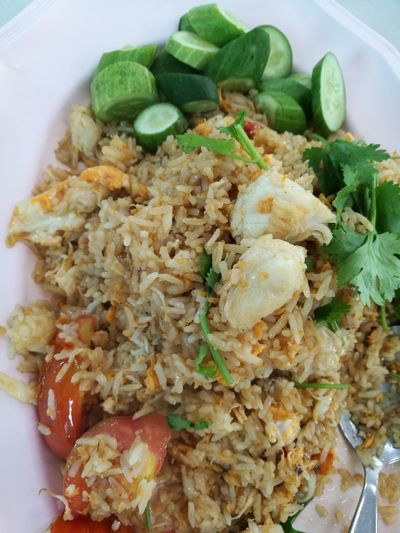 Food And Drink Food Healthy Eating Ready-to-eat Plate Freshness Indoors  No People Vegetable Appetizer Close-up Thai Food Thai Foods No Filters Or Effects No Edit No Filter High Angle View Fried Rice Fried Rice With Egg Fried Rice With Crab Thai Style Cooking