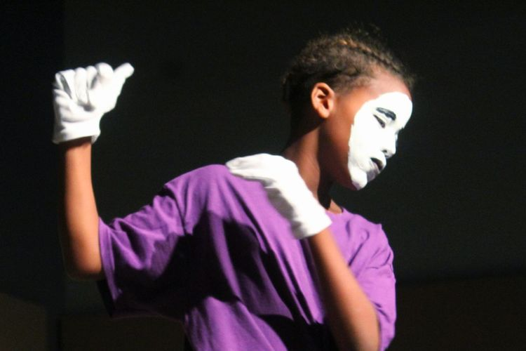 Mime. Enhance the Gift Gopel Arts Camp Production Liturgical Gospel Arts Culture And Entertainment Mime Makeup Purple African American Boy Athlete Sport Fun Disguise Traditional Dancing Dancer