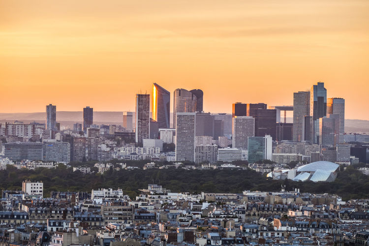 Aerial view of la defense in paris at sunset
