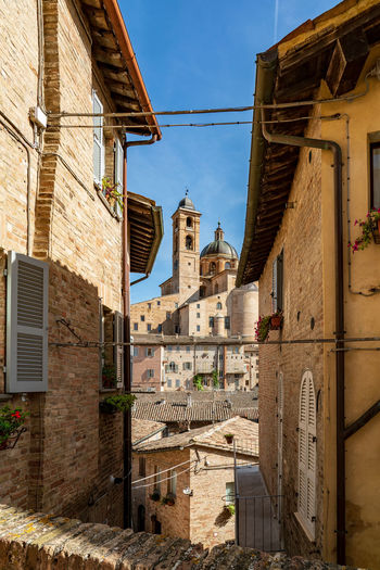 Low angle view of buildings in urbino