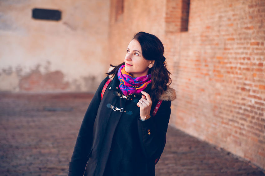EyeEm EyeEm Best Shots EyeEm Masterclass EyeEm Selects Architecture Beautiful Woman Beauty Built Structure Focus On Foreground Front View Hair Hairstyle Lifestyles Looking Away Marco Vittorio Marco Vittorio Photography One Person Outdoors Real People Scarf Standing Teenager Wall Women Young Women