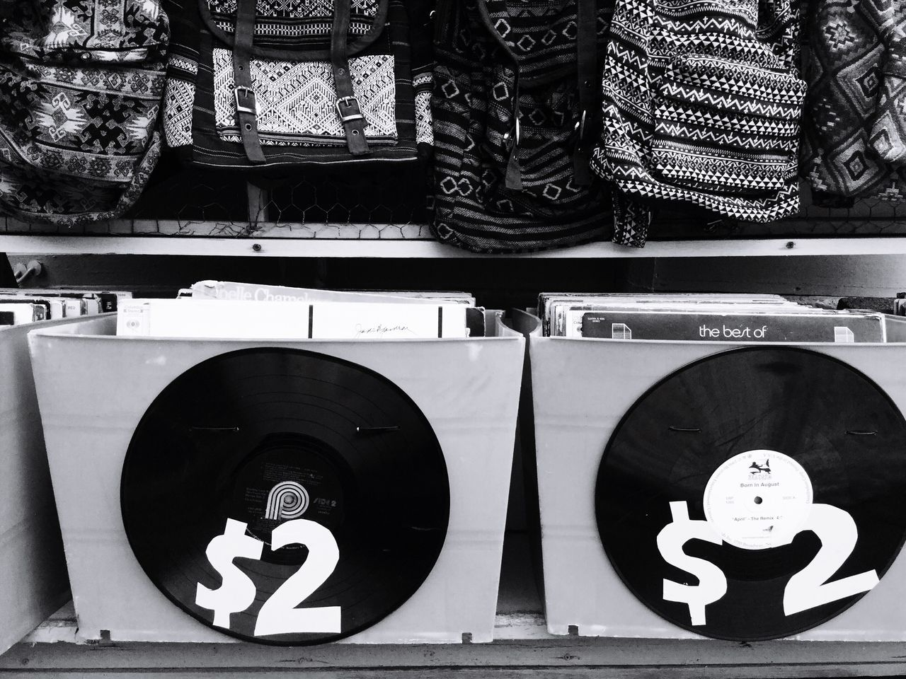 Records Displayed For Sale In Store