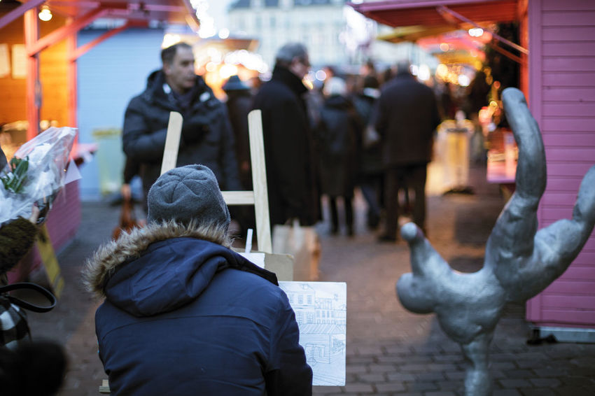 Artist Caen Chrismas Lights Chrismas Market Christmas Drawning France Marché De Noël Noel2016 Noël Outdoors Painter People