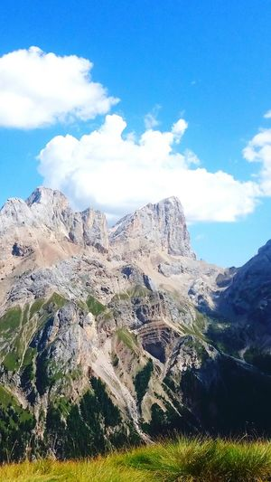 Forcia Neigra Dolomites, Italy Marmolada Gran Vernel Trekking Non-urban Scene Backpackers Summertime Mountain Blue Sky Mountain Range Cloud - Sky Landscape