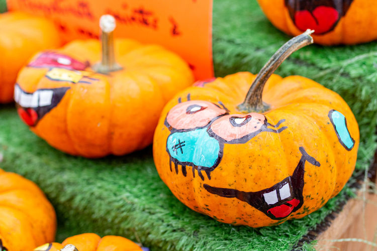 Close-up of pumpkin and pumpkins