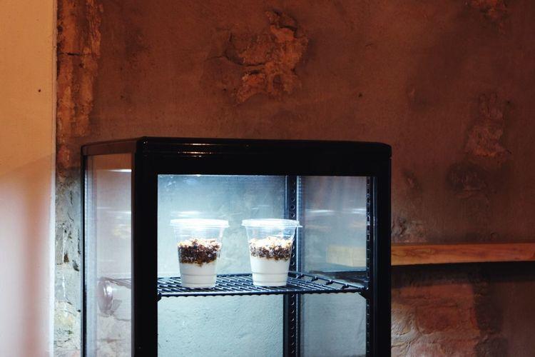 Bircher muesli in refrigerator at home