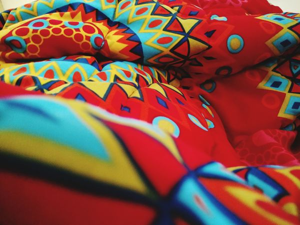 Neon Life Multi Colored Textile Quilt Pattern Close-up
