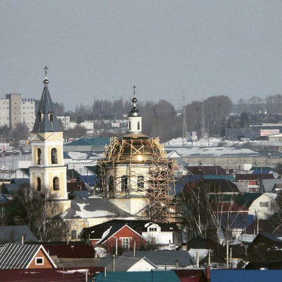 Нефтекамск сегодня  золото Церковь купола кресты весна Neftekamsk Today Gold Church Kirche Spring Russia Россия