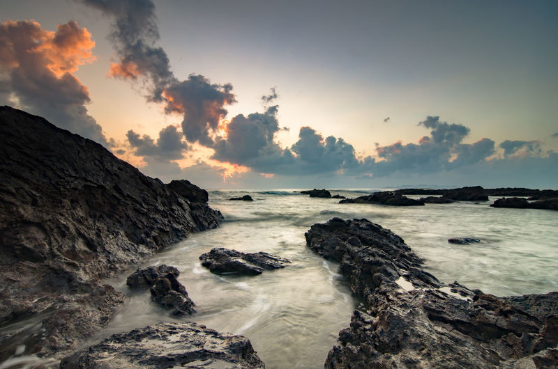 Rocky Coastal Feature Against The Sky