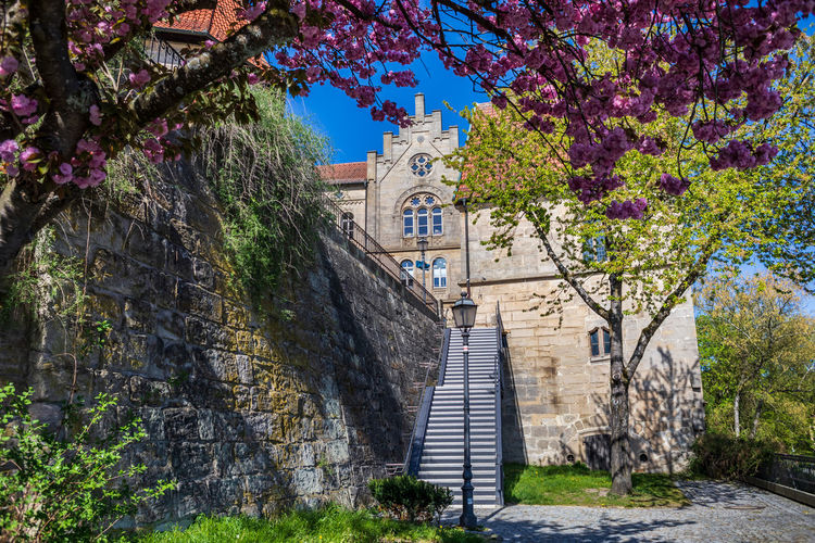 KRONACH, GERMANY - CIRCA APRIL, 2019: Townscape of Kronach in Bavaria, Germany City, Kronach, Upper Franconia, Architecture, Bavaria, Beautiful, Building, Castle, Cities, Cityscape, Culture, Destinations, Europe, Famous, Festival, German, Germany, Historic, History, House, Landmark, Landscape, Light, Medieval, Old, Outdoor, Place, Region, Square, Street, Summer, Tourism, Tourist, Tower, Traditional, Travel, View Kronach Bavaria Germany Architecture Street Travel Destination